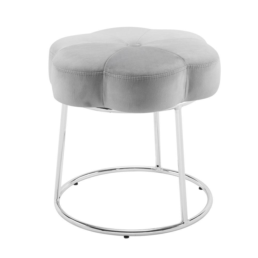 bath: flower vanity stool gray