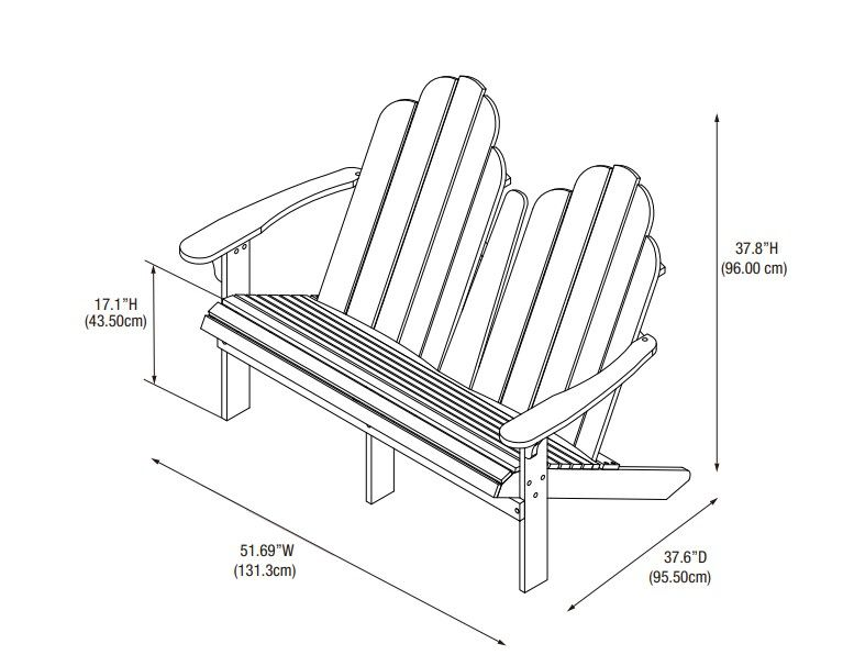 Adirondack Double Bench Drawing