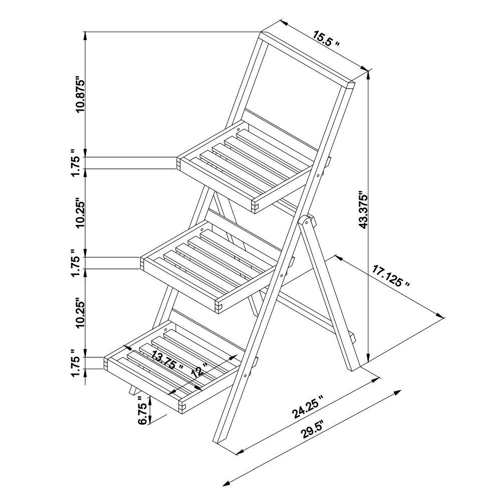 Nantucket Three Tier Planter Stand Gray Drawing