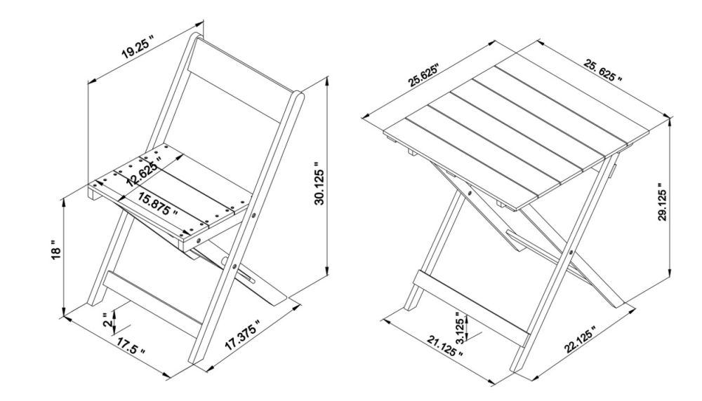 Nantucket 3pc Bistro Set Square Table Drawing
