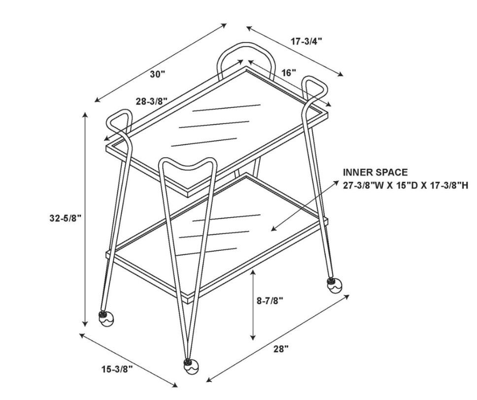 Ellie Silver Bar Cart Drawing