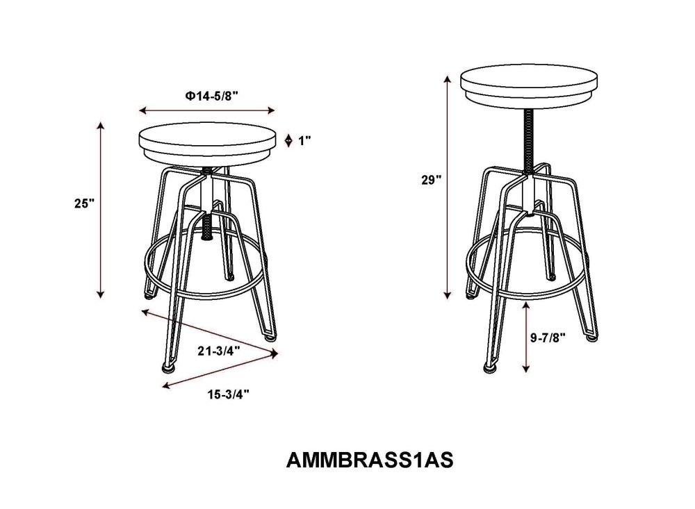 Toby Wood Metal Stool Brass Drawing