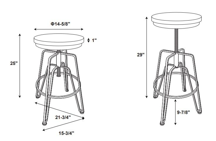 Toby Wood Metal Stool Mgold Drawing