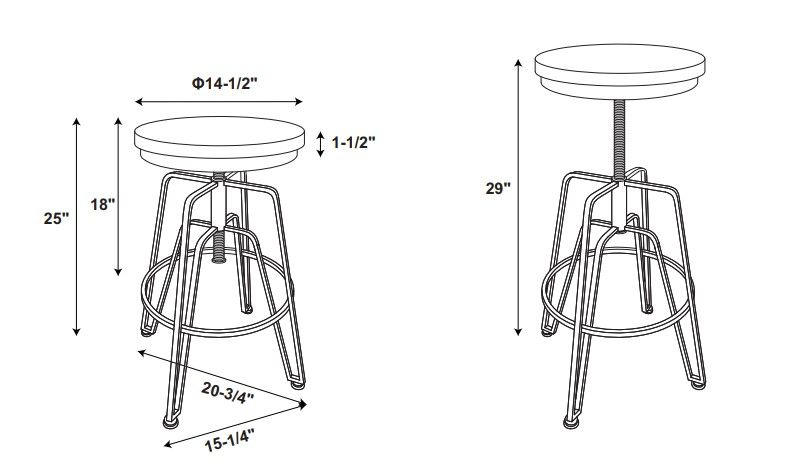 Toby Wood Metal Stool Silver Drawing