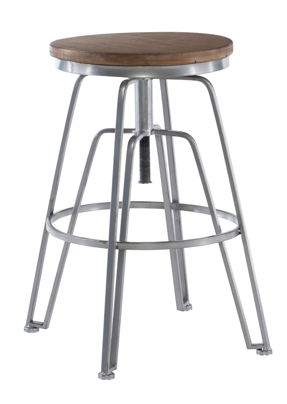 Toby Wood Metal Stool Silver Silo